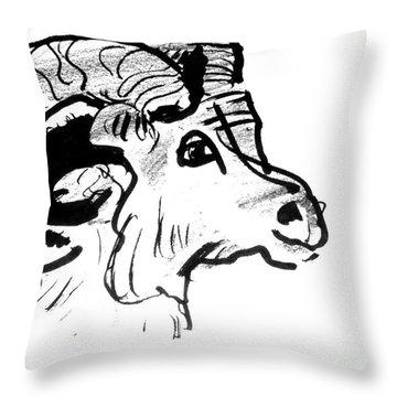 Big Horn Sheep  Sketch Throw Pillow