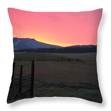 Big Horn Sunrise Throw Pillow by Diane Bohna