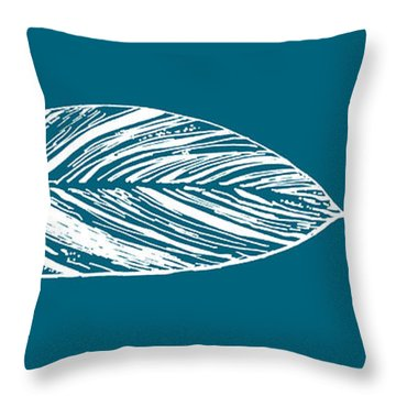 Big Leaf - Crystal Teal Throw Pillow