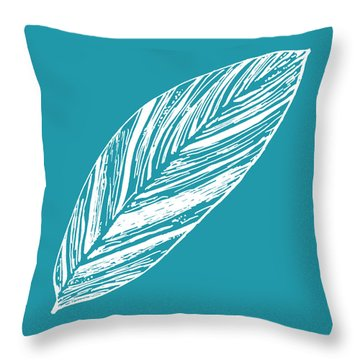 Big Ginger Leaf - Teal Throw Pillow
