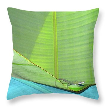 Big Leaves With Lizard Throw Pillow