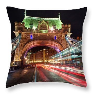 Throw Pillow featuring the photograph Big Monster Is Eating Ghost Bus Number 42 by Quality HDR Photography