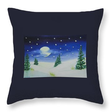 Big Moon Christmas Throw Pillow