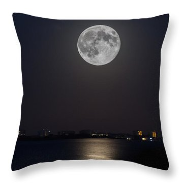 Big Moon Over The Bay Throw Pillow