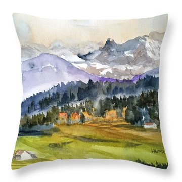 Big Mountain Sunset Throw Pillow