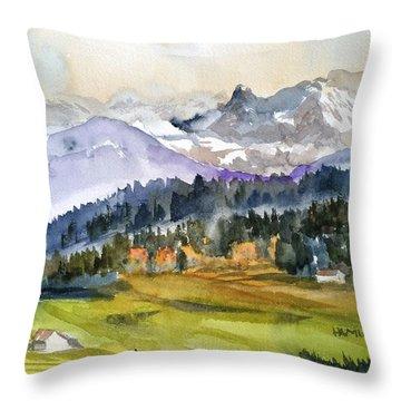 Big Mountain Sunset Throw Pillow