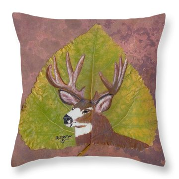 Big Mule Deer Buck Throw Pillow