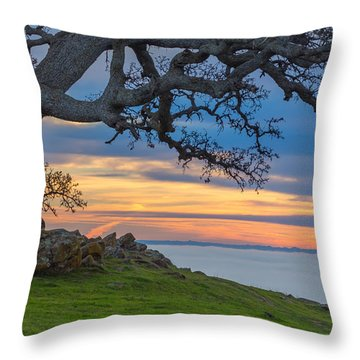 Big Oak Above Fog Throw Pillow by Marc Crumpler