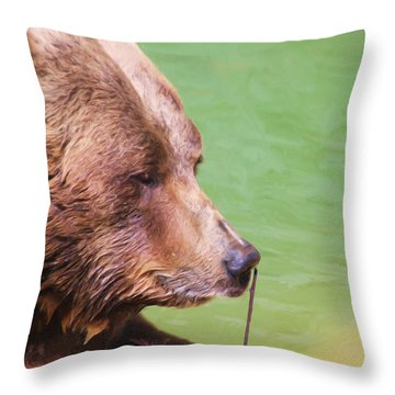 Big Old Bear With A Tiny Stick Throw Pillow by Karol Livote