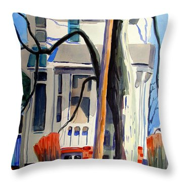 Throw Pillow featuring the painting Big Old Behemoth Of A House by Charlie Spear