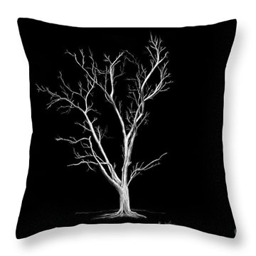 Big Old Leafless Tree Throw Pillow