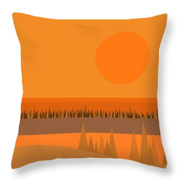 Throw Pillow featuring the digital art Big Orange Sun by Val Arie