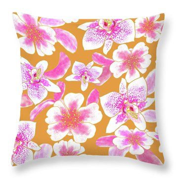 Big Orchids Mango Orange Throw Pillow