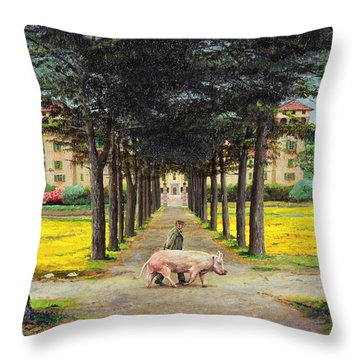 Big Pig - Pistoia -tuscany Throw Pillow by Trevor Neal