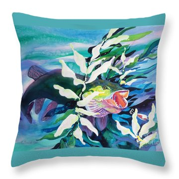 Big Pike On The Hunt Throw Pillow by Kathy Braud