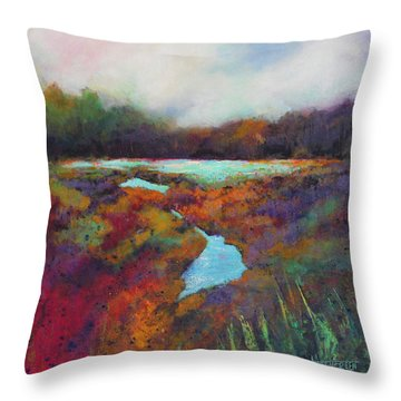 Big Pond In Fall Mc Cormick Woods Throw Pillow by Marti Green