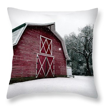 Big Red Barn In Snow Throw Pillow