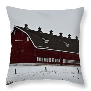 Big Red Barn In The Winter Throw Pillow