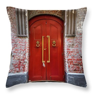 Throw Pillow featuring the photograph Big Red Doors by Perry Webster