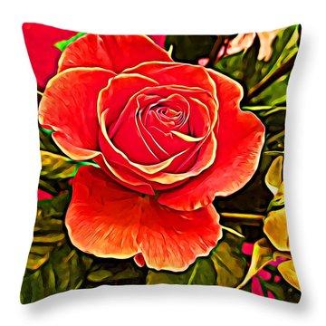 Big Red Rose Throw Pillow