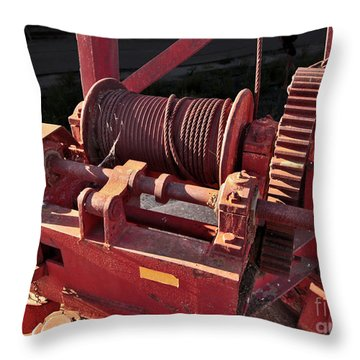 Throw Pillow featuring the photograph Big Red Winch by Stephen Mitchell