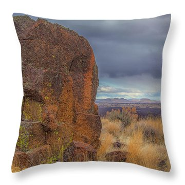 Big Rock At Lava Beds Throw Pillow