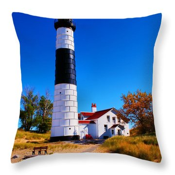 Big Sable Point Lighthouse Throw Pillow by Nick Zelinsky