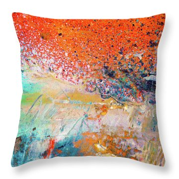 Big Shot - Orange And Blue Colorful Happy Abstract Art Painting Throw Pillow