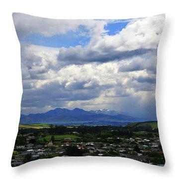 Big Sky Over Oamaru Town Throw Pillow
