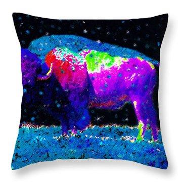 Big Snow Buffalo Throw Pillow by David Lee Thompson