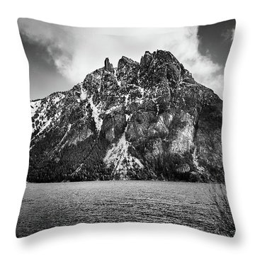 Big Snowy Mountain In Black And White Throw Pillow
