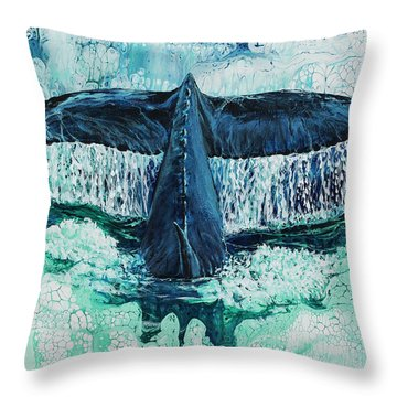 Throw Pillow featuring the painting Big Splash On Maui by Darice Machel McGuire