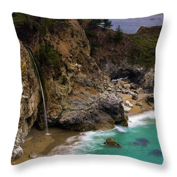 Big Sur Waterfall Throw Pillow