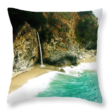 Big Sur Waterfall Throw Pillow by Jerome Stumphauzer