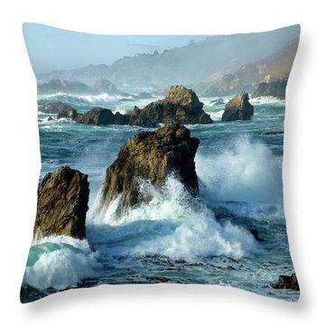 Big Sur Winter Wave Action Throw Pillow