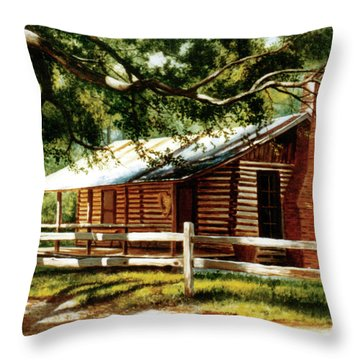 Big Thicket Information Center_the Staley Cabin Throw Pillow