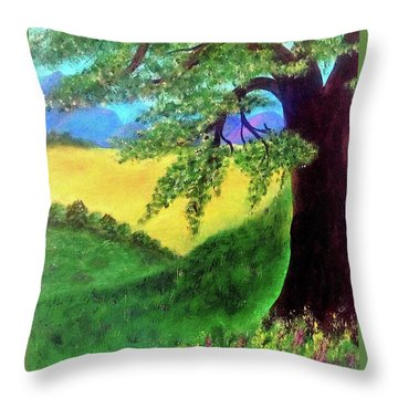 Throw Pillow featuring the painting Big Tree In Meadow by Sonya Nancy Capling-Bacle