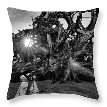 Big Tree On The Beach At Sunrise In Monochrome Throw Pillow