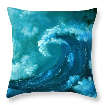 Throw Pillow featuring the painting Big Wave by Anastasiya Malakhova