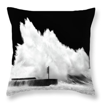 Big Wave Breaking On Breakwater Throw Pillow