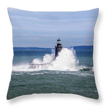 Big Wave Hits Ram Island Ledge Light Throw Pillow