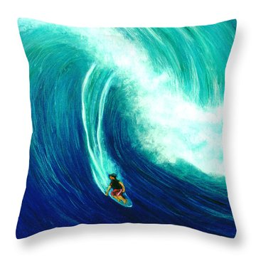Big Wave North Shore Oahu #285 Throw Pillow by Donald k Hall