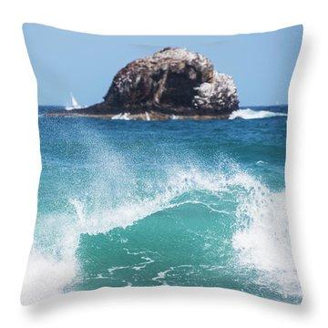 Big Wave Rock Off Of Pigeon Island Saint Lucia Throw Pillow