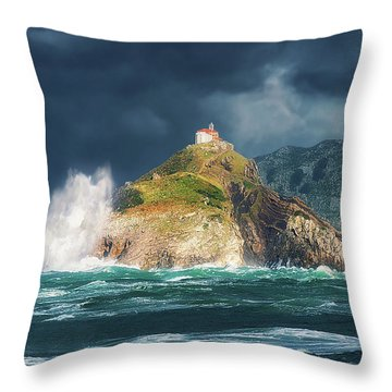 Big Waves Over San Juan De Gaztelugatxe Throw Pillow