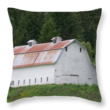 Big White Old Barn With Rusty Roof  Washington State Throw Pillow by Laurie Kidd