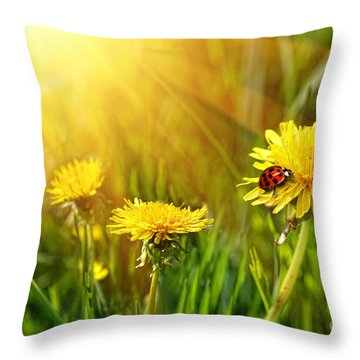 Big Yellow Dandelions In The Tall Grass Throw Pillow by Sandra Cunningham