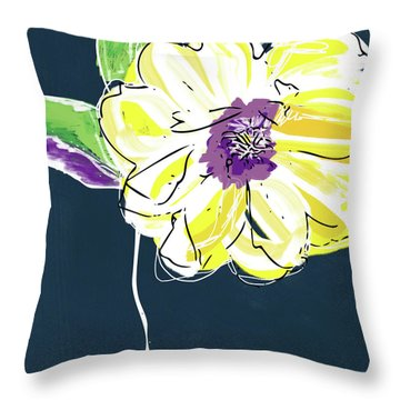 Throw Pillow featuring the mixed media Big Yellow Flower- Art By Linda Woods by Linda Woods