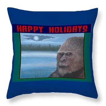 Throw Pillow featuring the painting Bigfoot Happy Holidays by Stuart Swartz