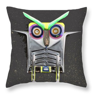 Big Eyebrow Owl Throw Pillow