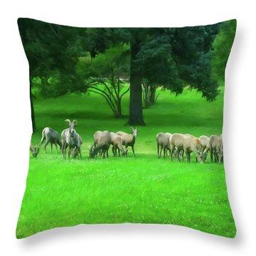 Throw Pillow featuring the digital art Bighorn Sheep Ewes  by Chris Flees